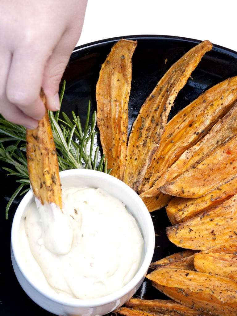 Baked Sweet Potato Wedges with Pesto Mayo