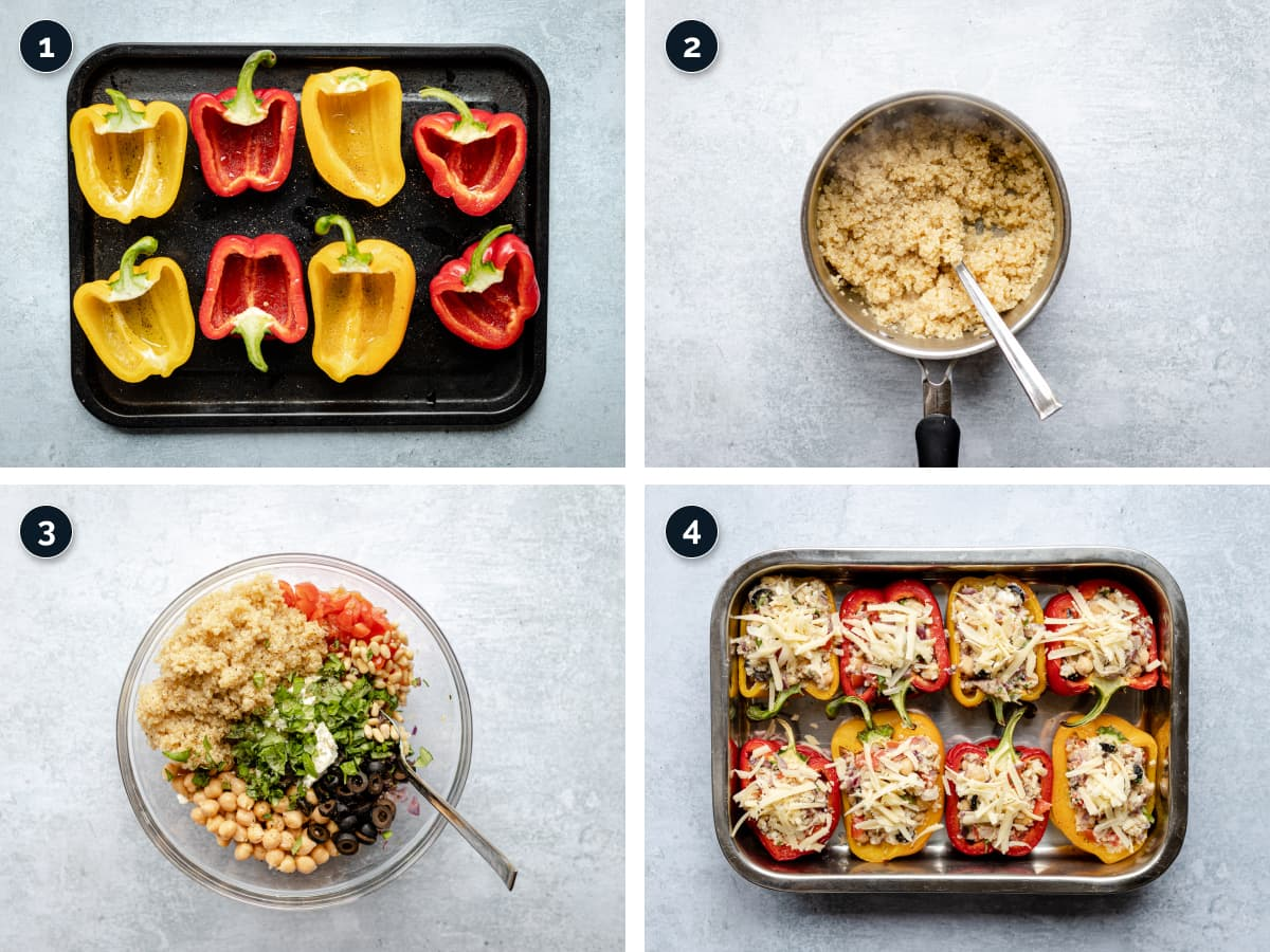 Step by step process for making Quinoa Stuffed Peppers