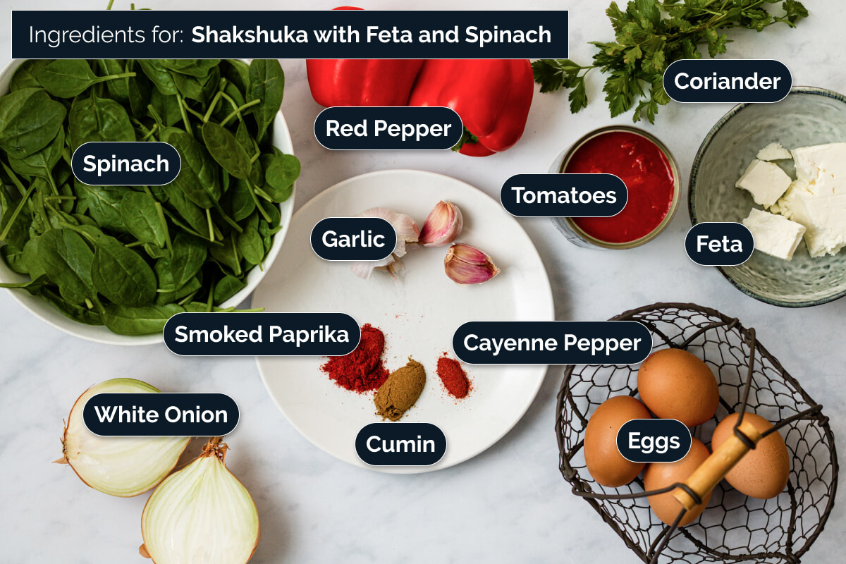 Ingredients for making Shakshuka with Feta