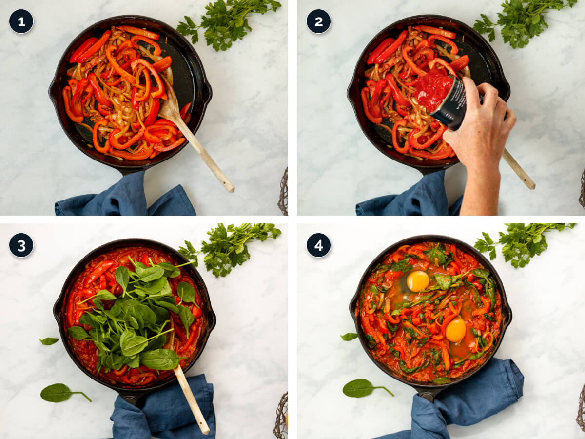 Step by step process for making Shakshuka with Feta