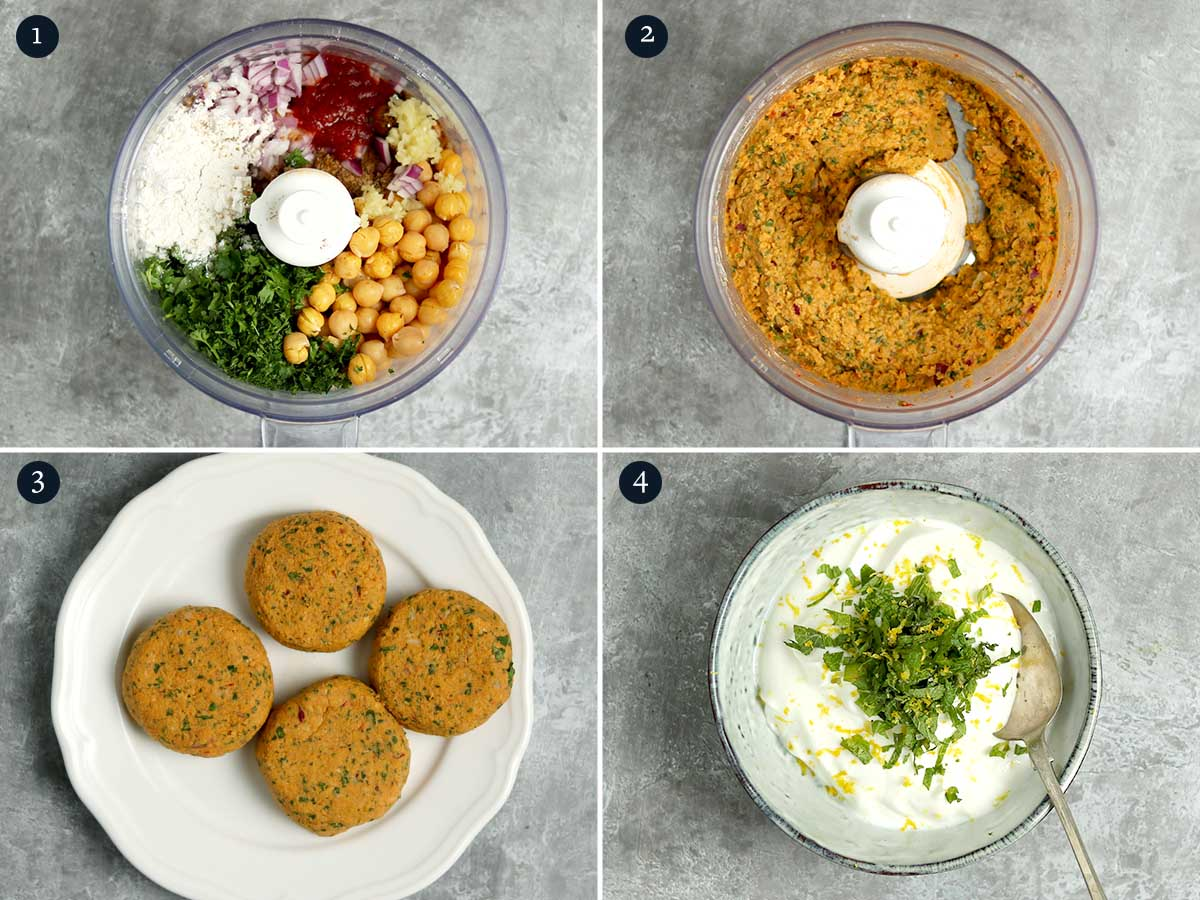 Step by step process for making Falafel Burgers