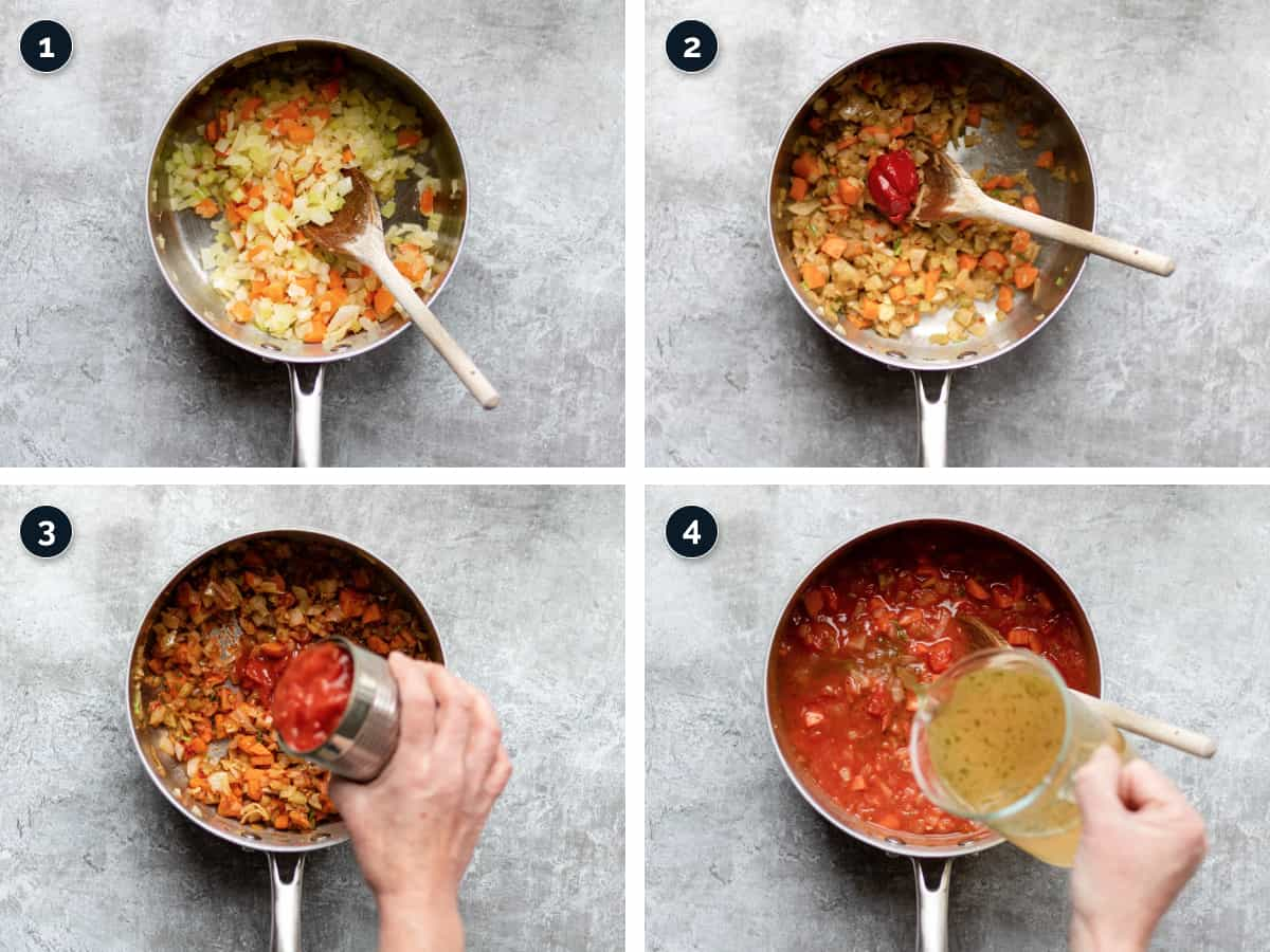 Step by step process for making Tomato Soup
