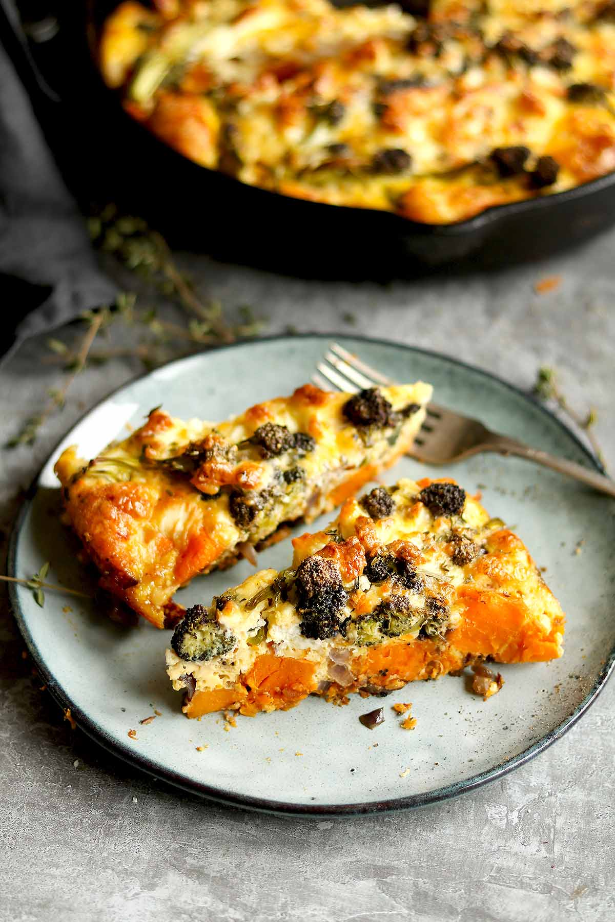 Broccoli and sweet Potato with caramelized red onions and feta made as a Frittata