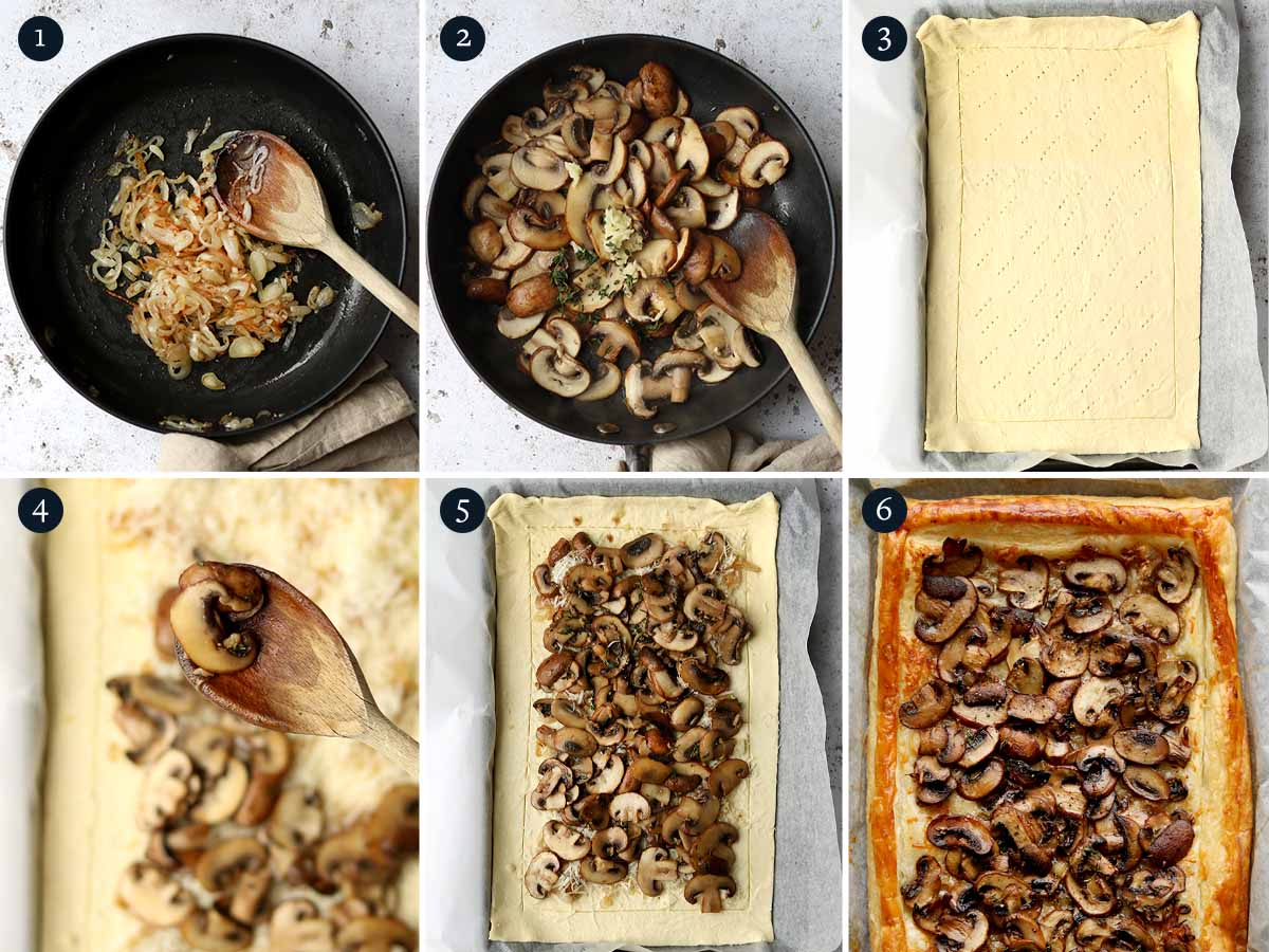 Step by step process for making a mushroom tart