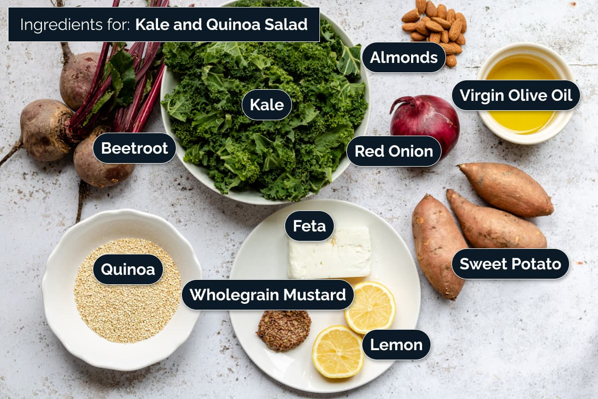 Ingredients for the Kale and Quinoa salad