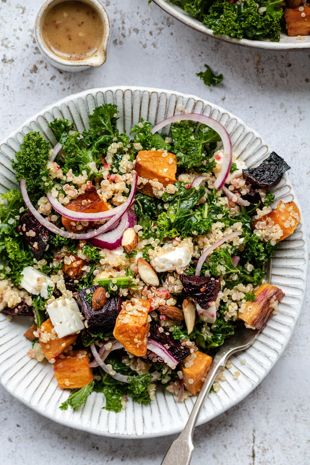 Beetroot, sweet potato, feta and red onion