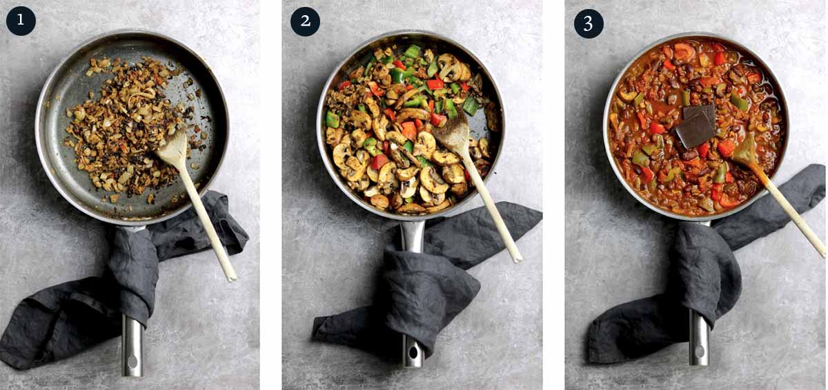 Step by step process for making a Vegetarian Chili