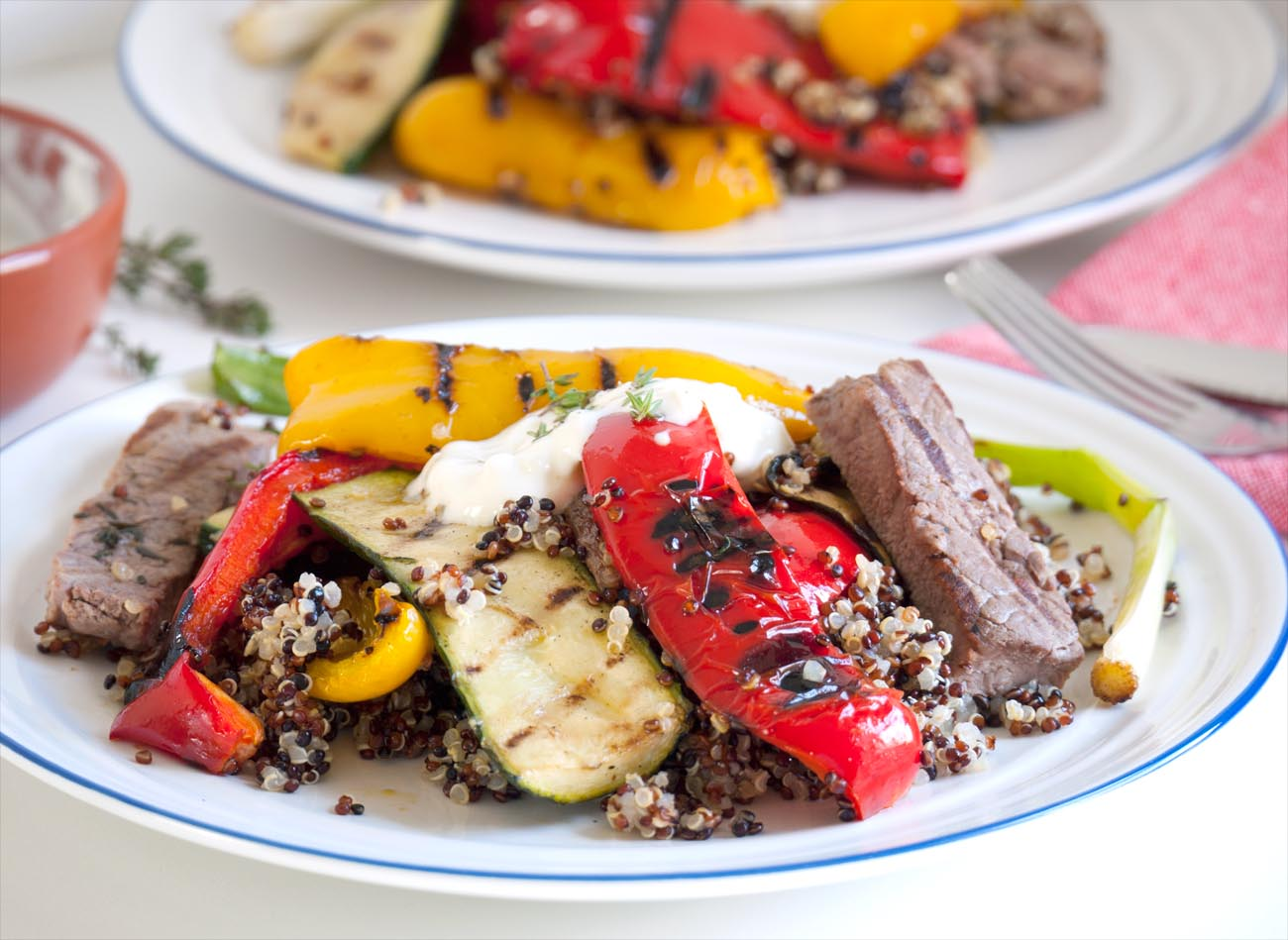 Steak with Grilled Vegetables & Quinoa