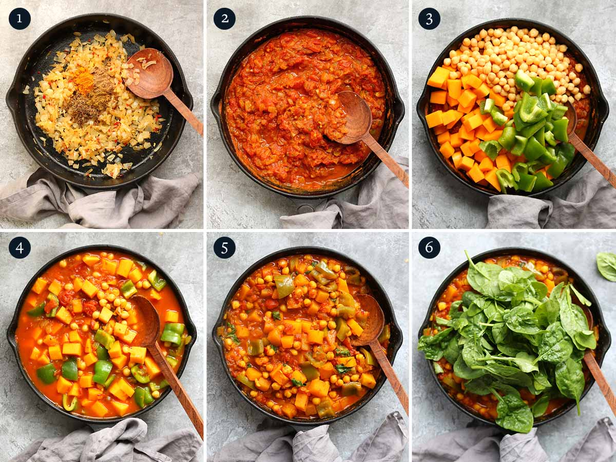 step by step process for making butternut squash and chickpea curry