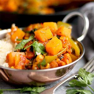 Butternut squash, chickpeas with coriander and rice