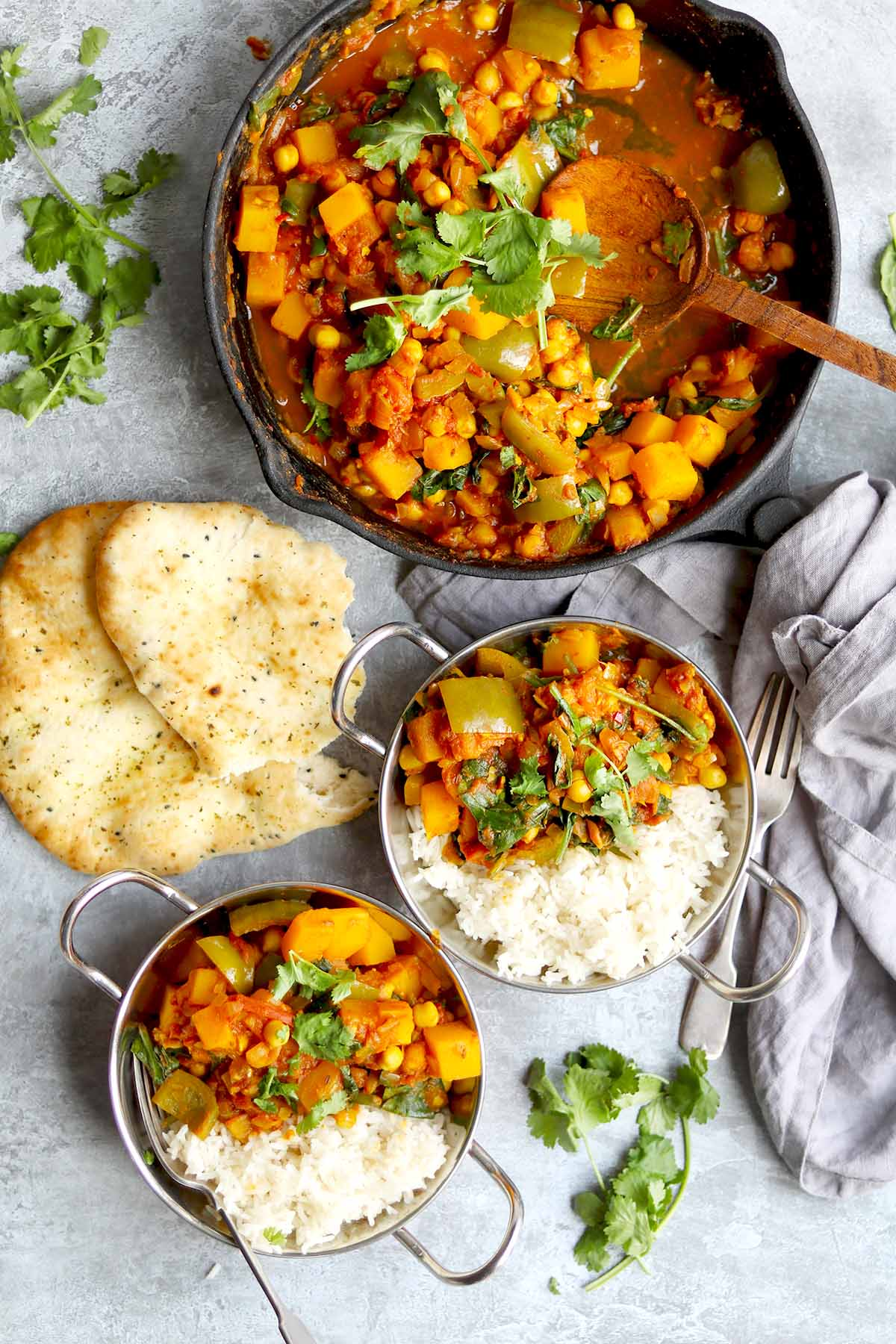 Butternut squash, chickpeas with coriander, rice and naan bread