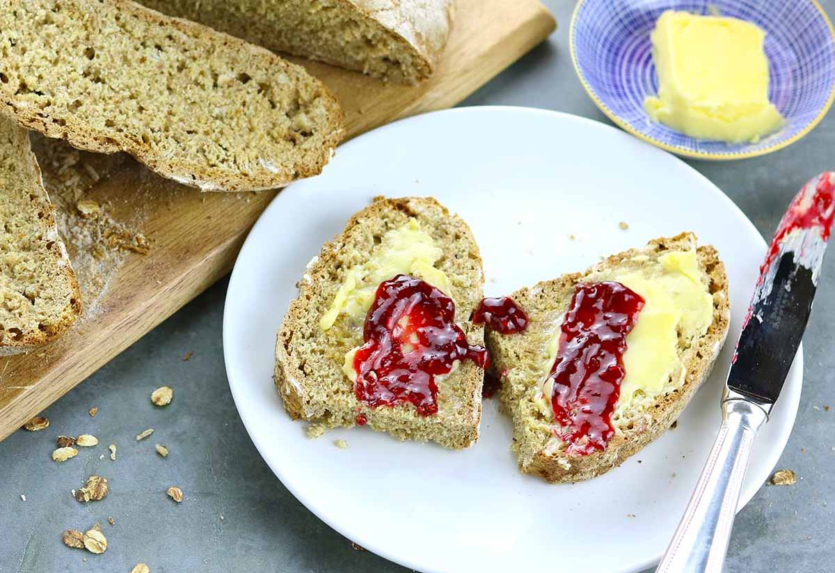 Irish soda bread with butter and jam