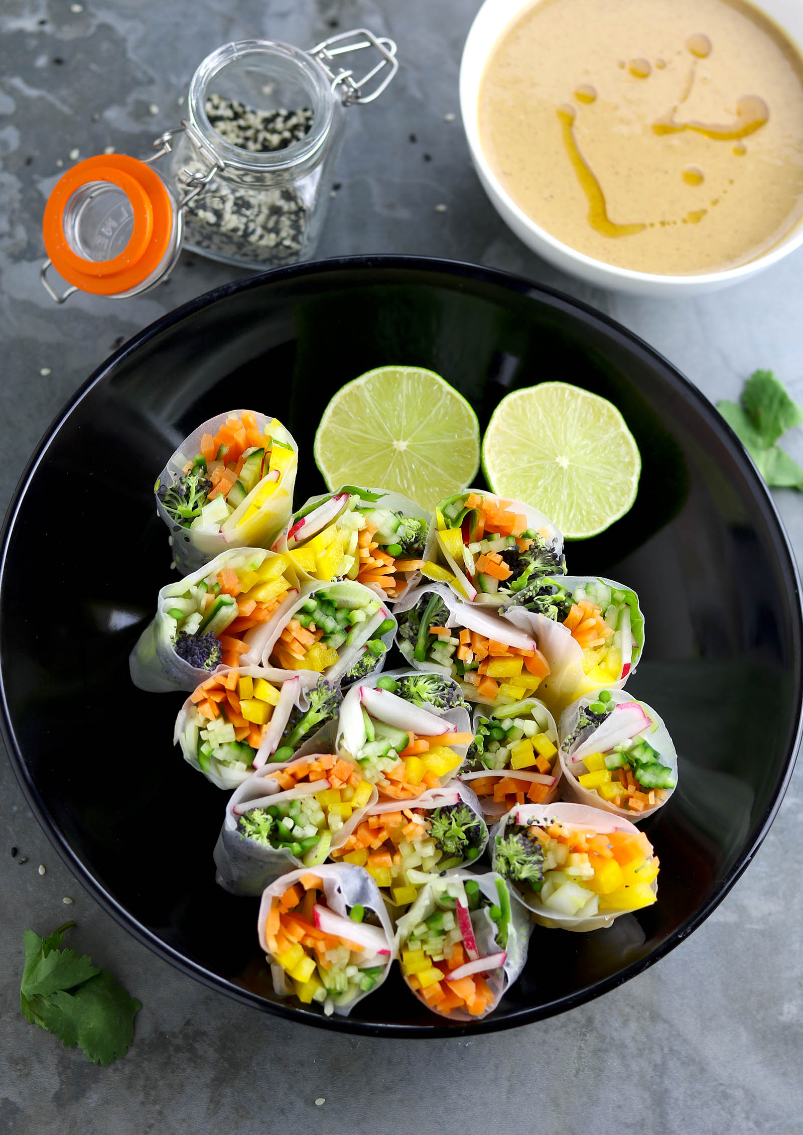 Spring Veggie Rolls with Peanut Dipping Sauce - thelastfoodblog.com