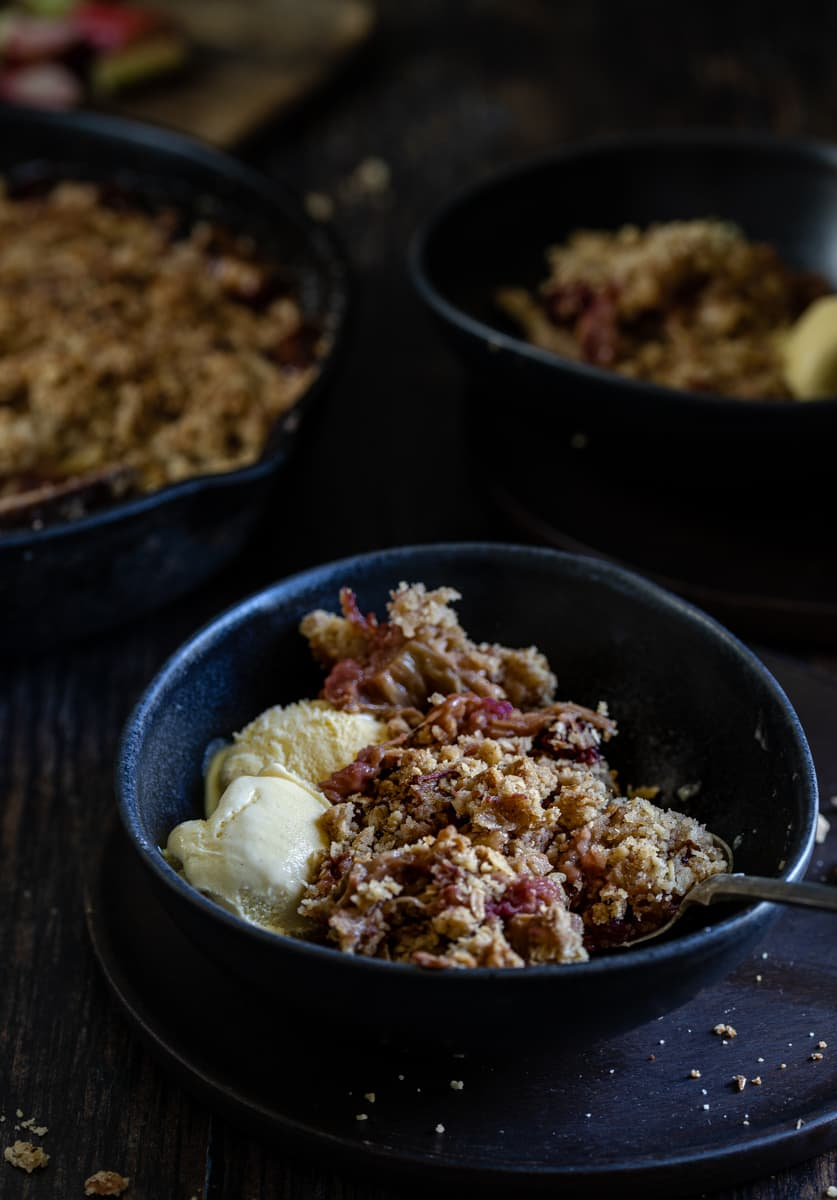 Rhubarb with a ginger, oat, almond, and cinnamon topping