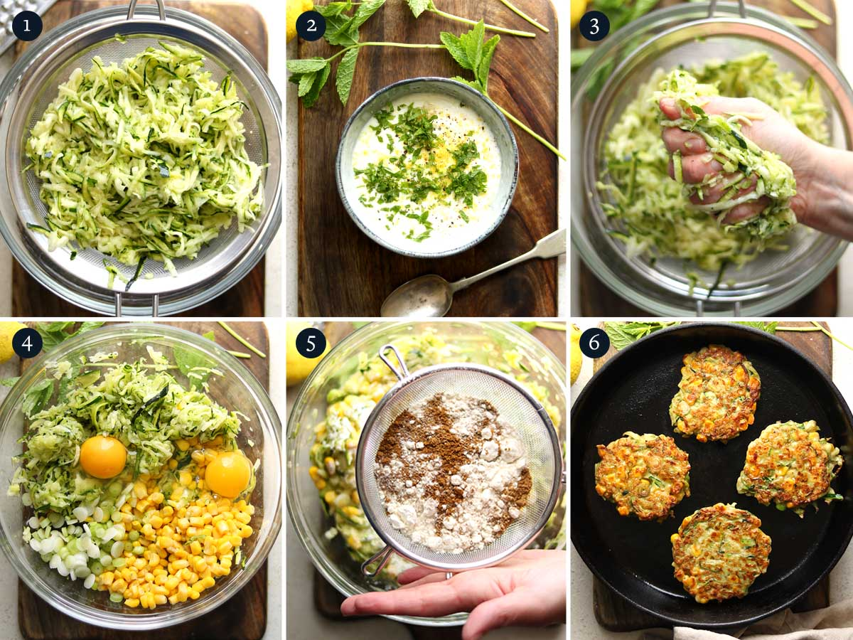 Step by step process to making Courgette Fritters