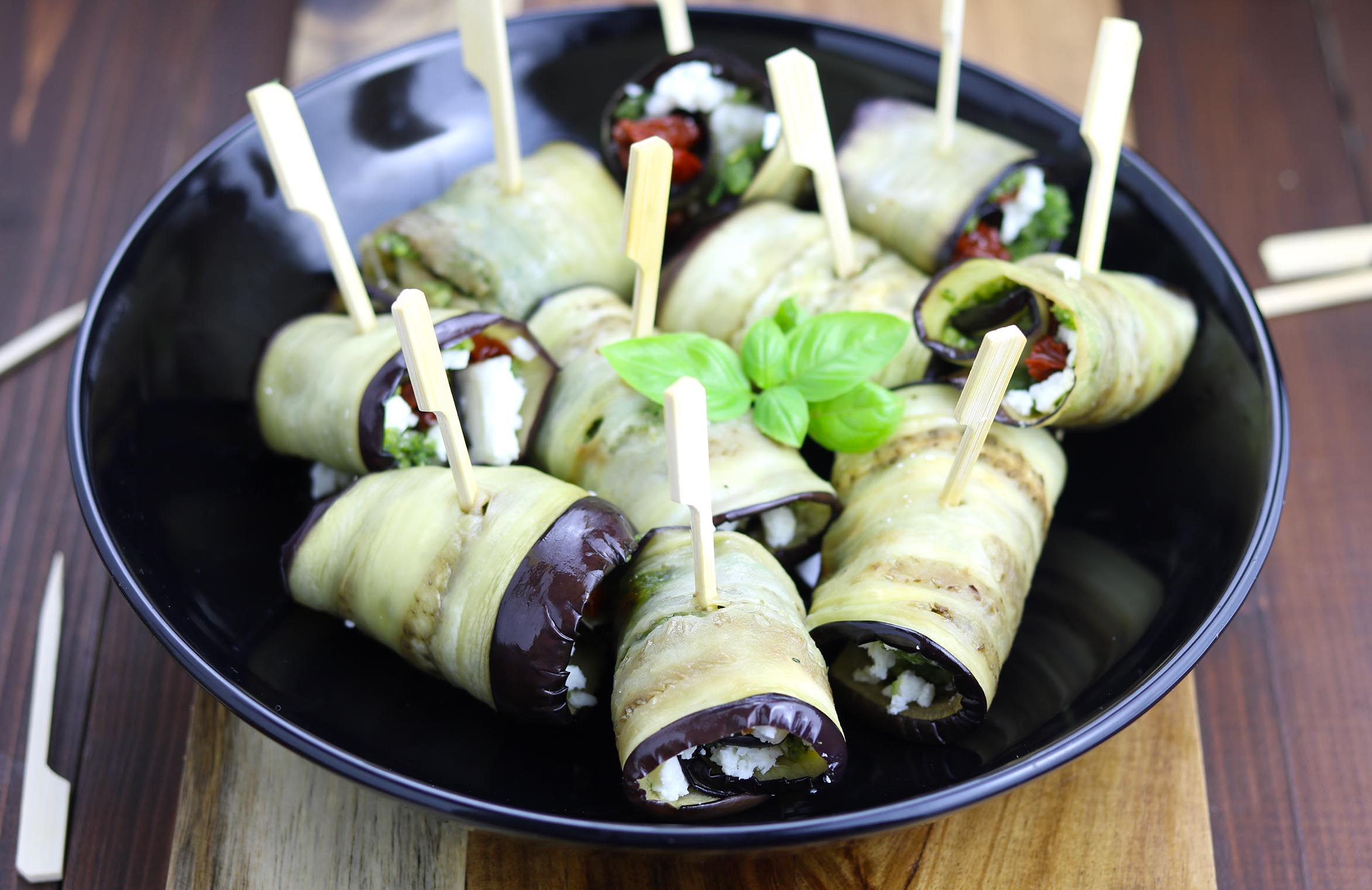 Aubergine Rolls with Feta & Sun Dried Tomatoes - thelastfoodblog.com