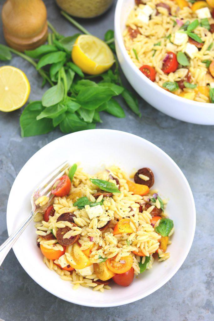 Tomato & Chorizo Orzo Salad - thelastfoodblog.com