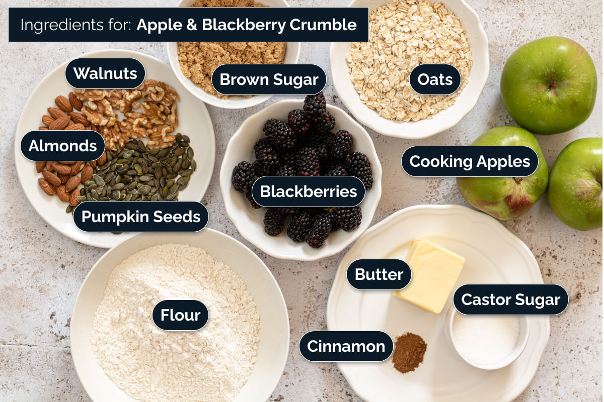 Ingredients for making Apple and Blackberry Crumble