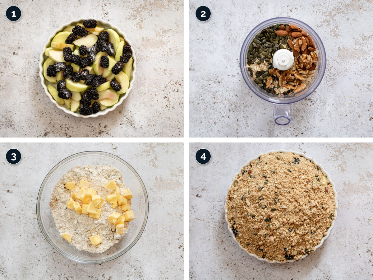 Step by step process for making Apple and Blackberry Crumble