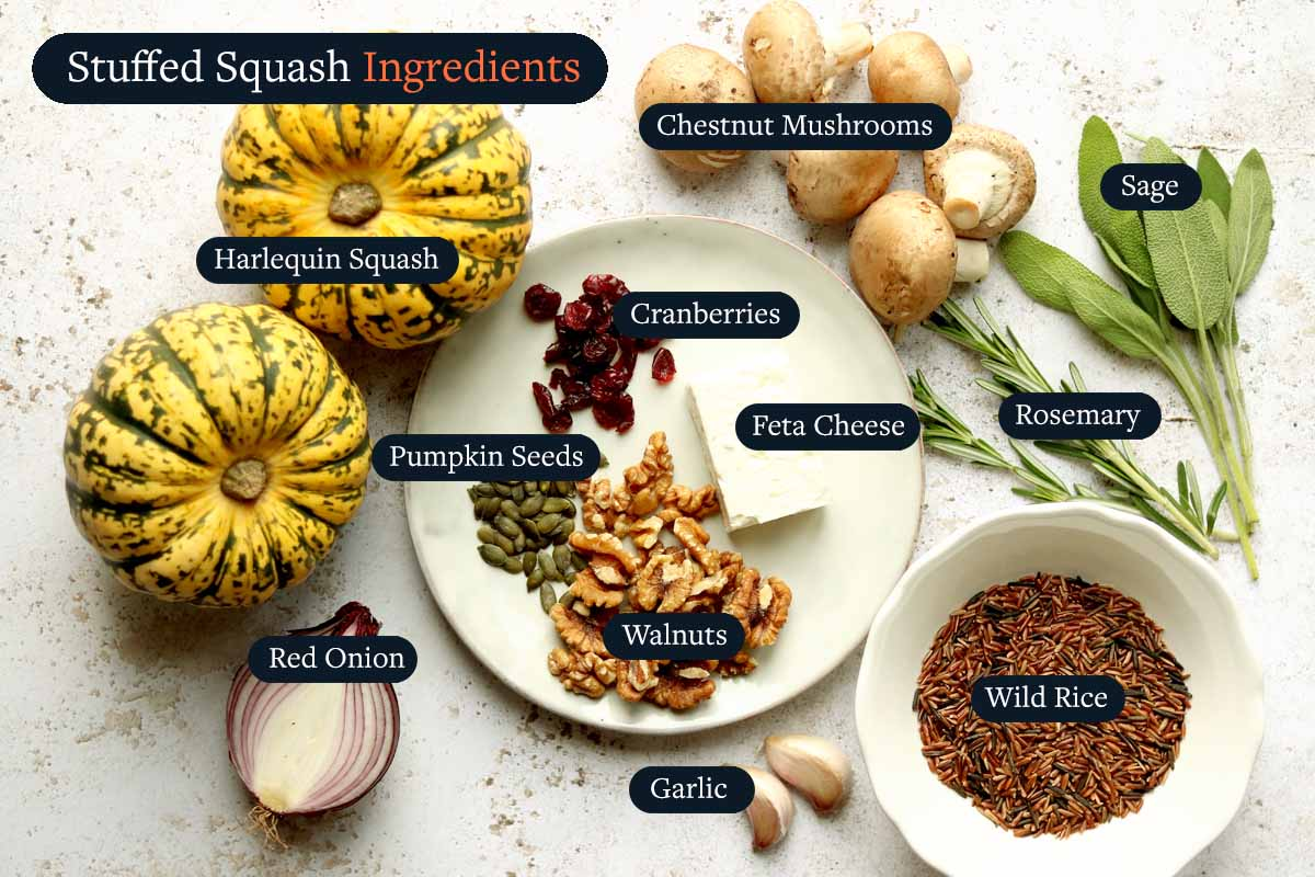 Ingredients for making Stuffed Squash with Wild Rice
