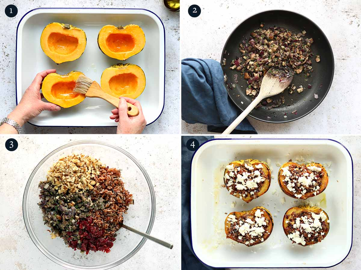 Step by step process for making Stuffed Squash