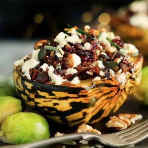 Stuffed Squash with Wild Rice side