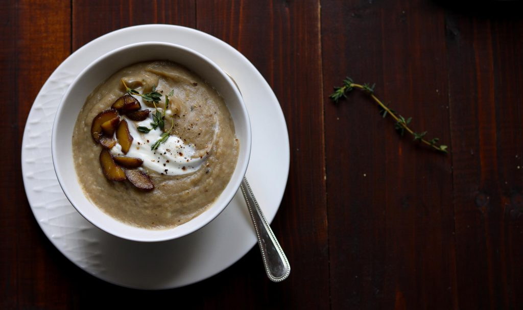 Roast Celeriac & Parsnip Soup with Chestnuts