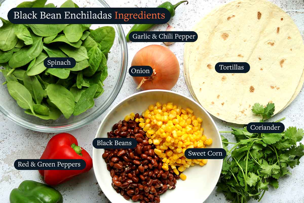 Ingredients for Black Bean Enchilada