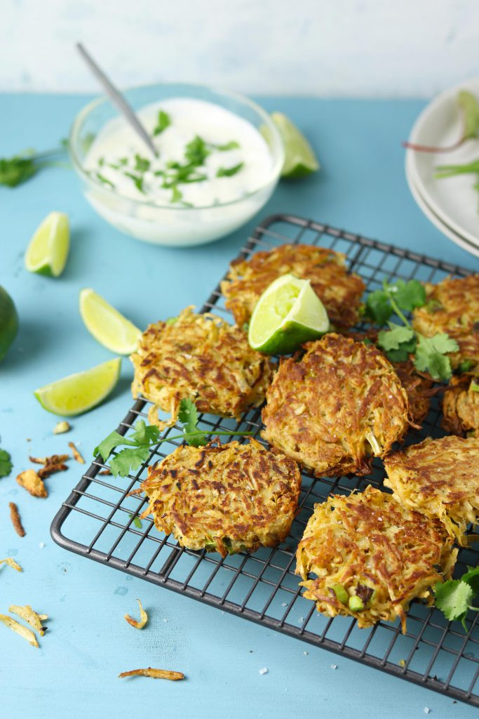 Spiced Parsnip Fritters with Coriander Yogurt - www.thelastfoodblog.com