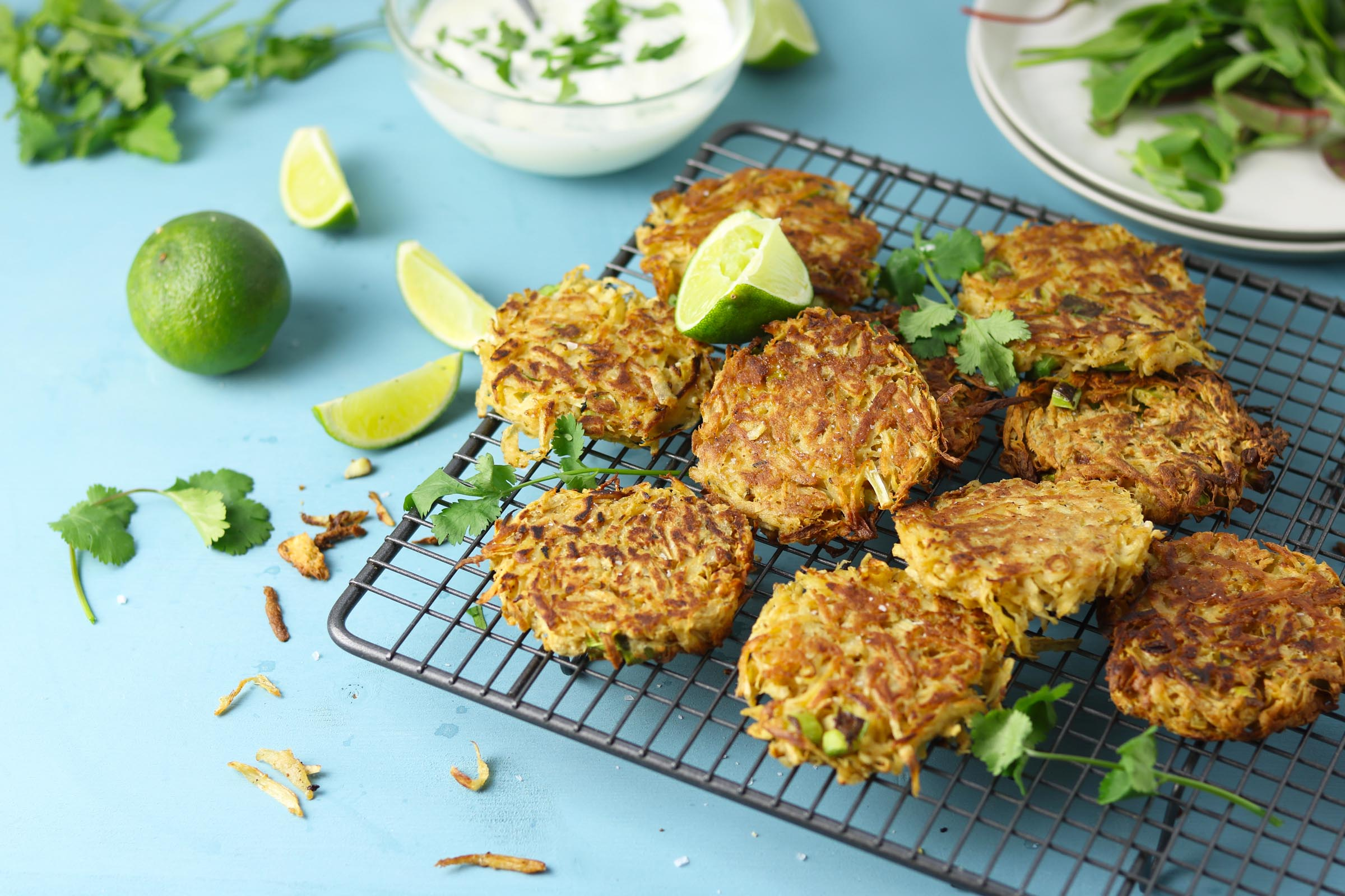 Spiced Parsnip Fritters with Coriander Yogurt