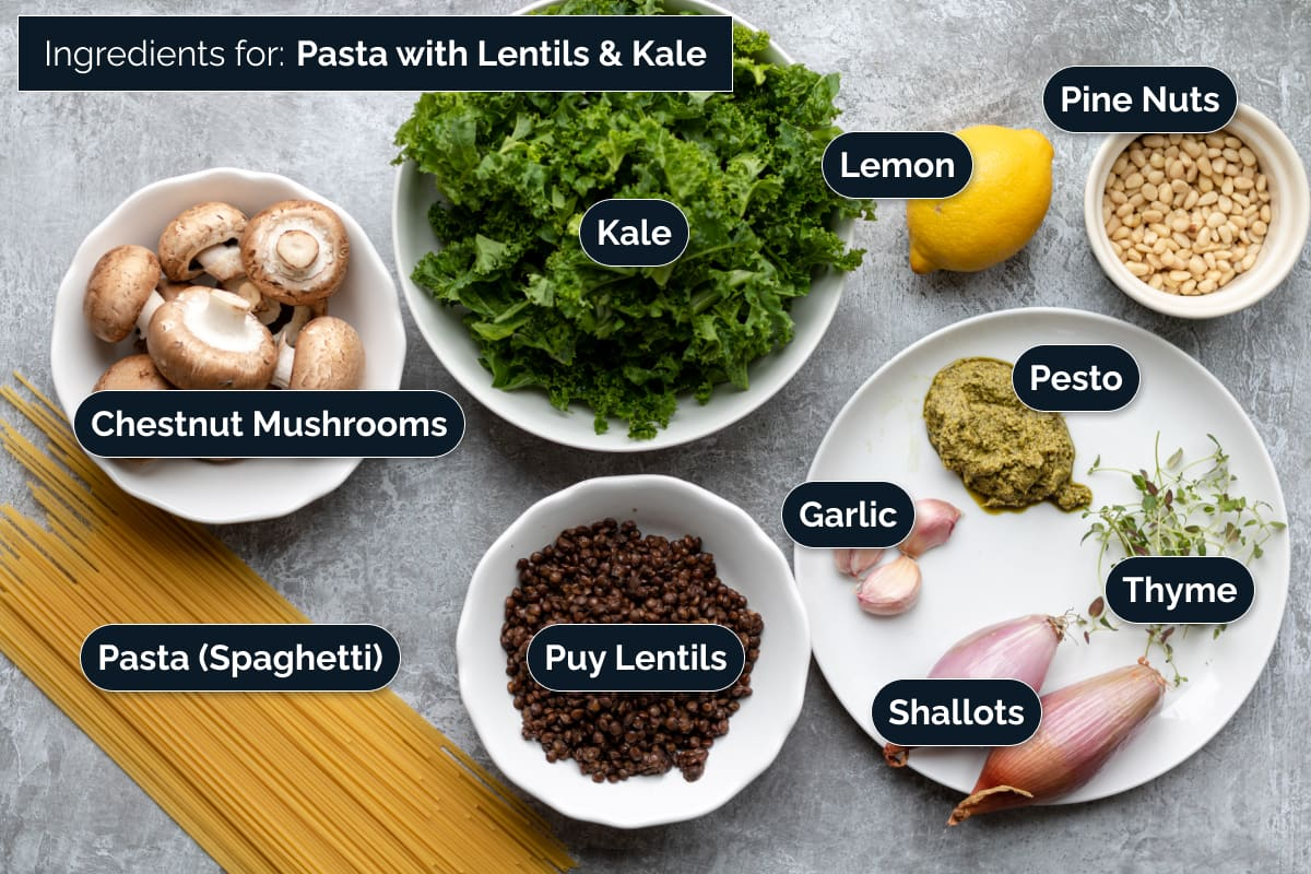 Ingredient for making Pasta with Lentils and Kale