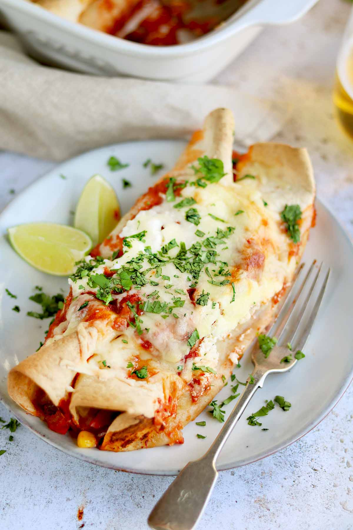 Tortillas with spicy tomato enchilada sauce, covered is melted cheese with a coriander garnish served on a plate