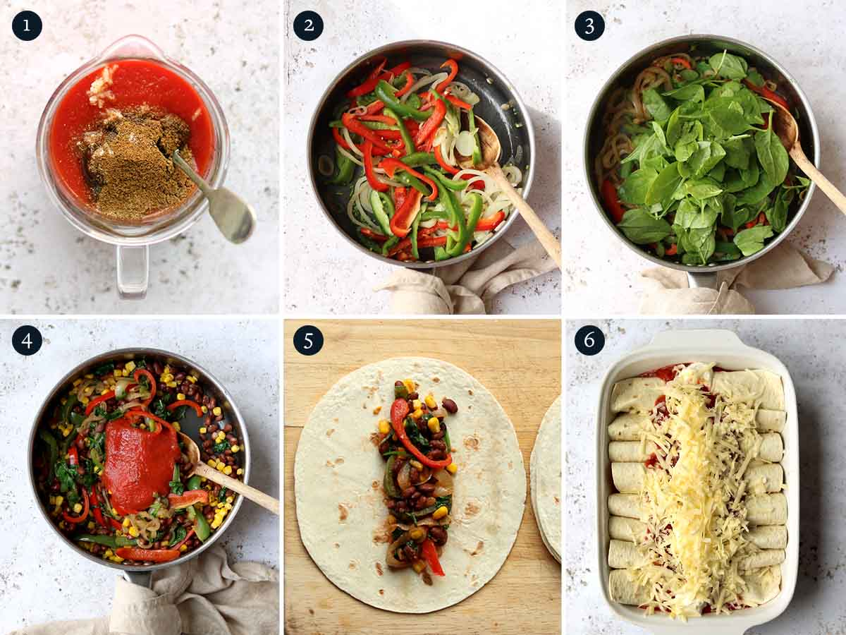 Step by step process for making Spinach & Black Bean Enchiladas