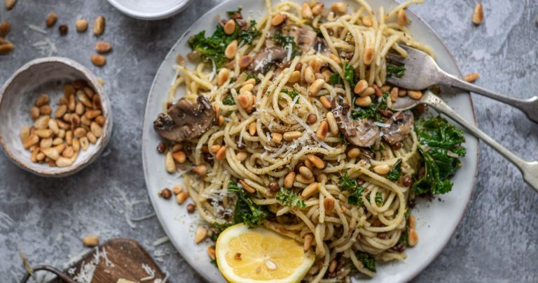pasta with lentils and mushrooms