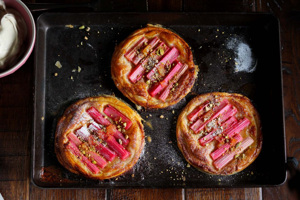 Rhubarb & Ginger Tarts with Pistachios