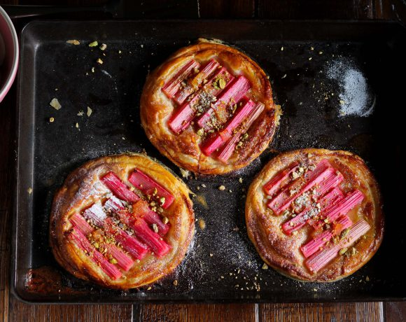 Rhubarb & Ginger Tartlets with Pistachios