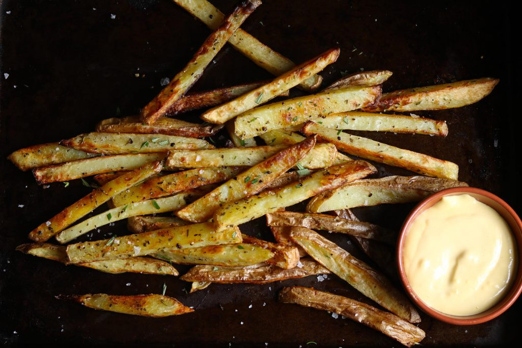 Baked Black Pepper, Rosemary Fries with Aioli