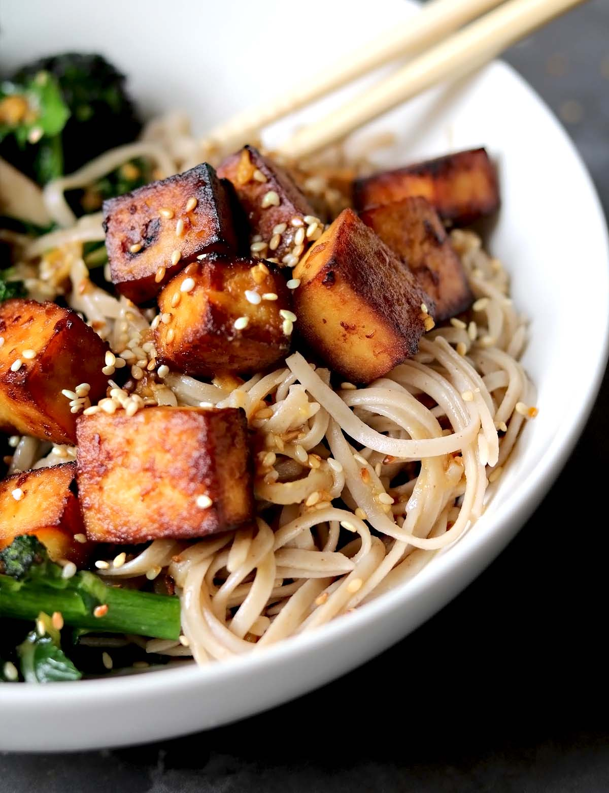 Miso tofu with noodles and broccoli