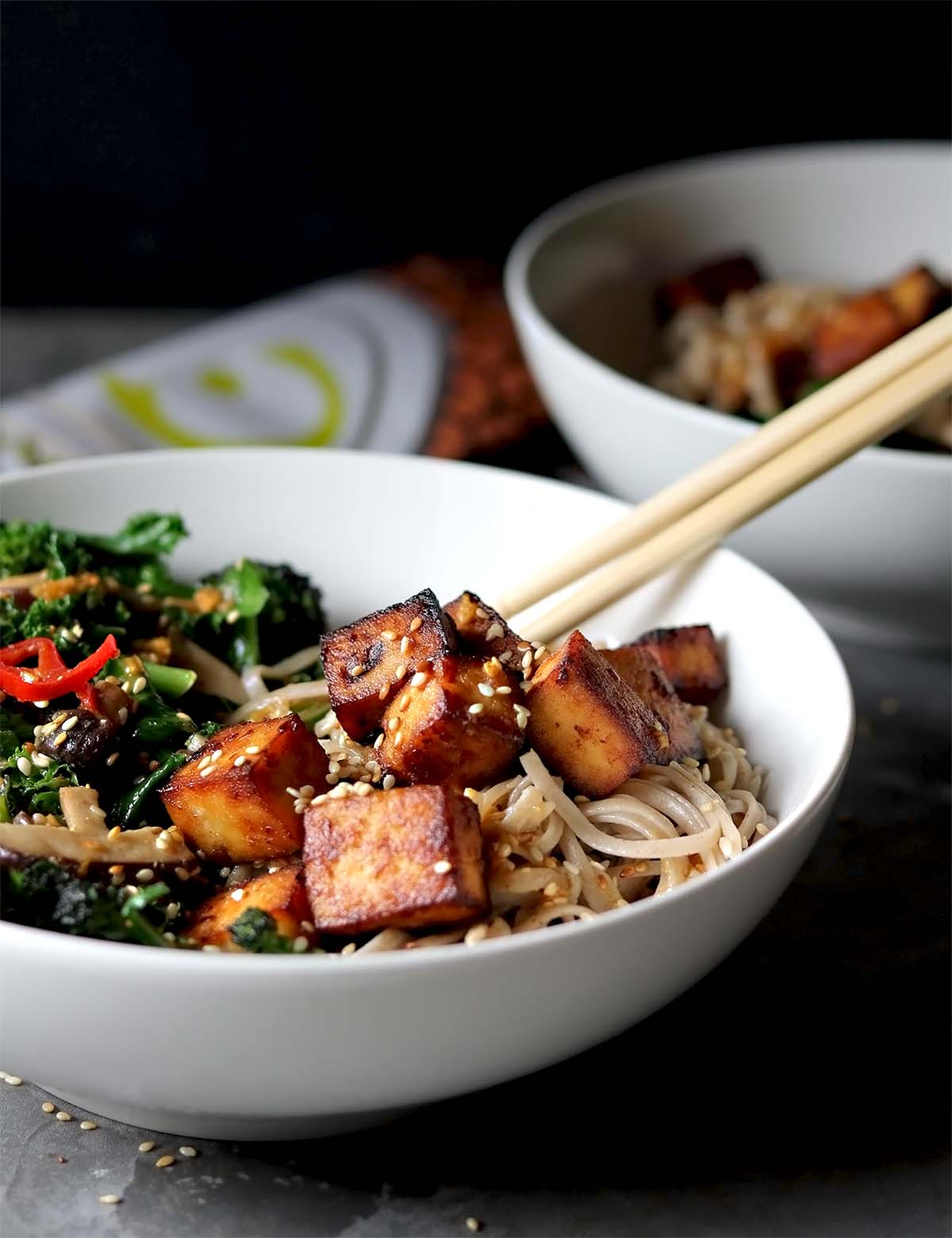 Miso tofu with noodles and broccoli and chili