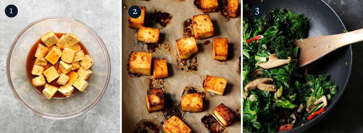 Step by step process to making Miso glazed tofu