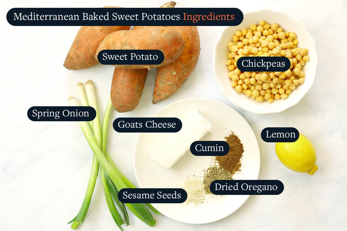 Ingredients for making Baked Sweet Potatoes