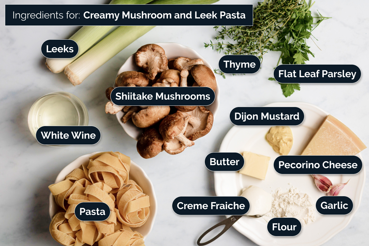 Ingredients for Creamy Mushroom & Leek Pasta