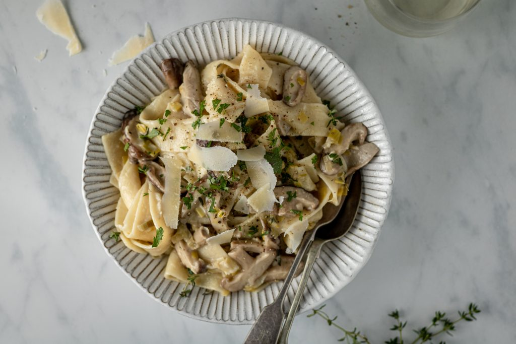overhead view of pasta in a bowl