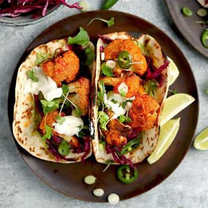 Harissa Baked Cauliflower Tacos