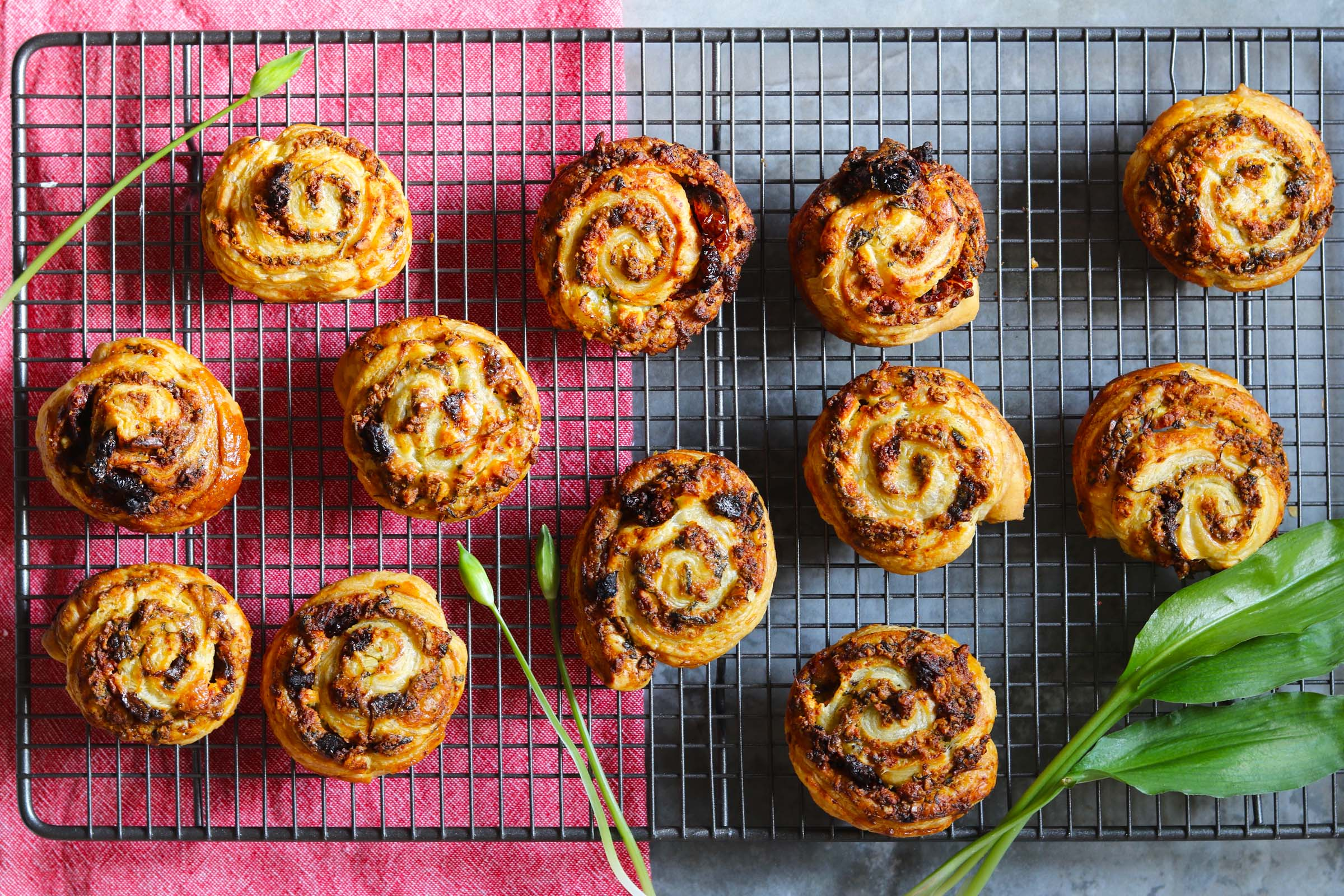 Feta & Sun Dried Tomato Swirls with Wild Garlic Pesto