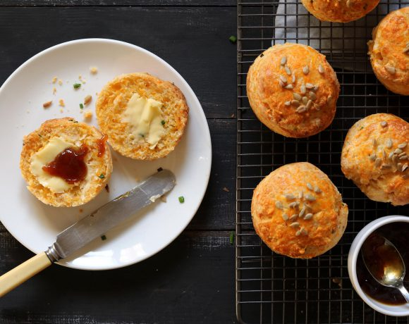 Cheese Scones with Chives & Sunflower Seeds