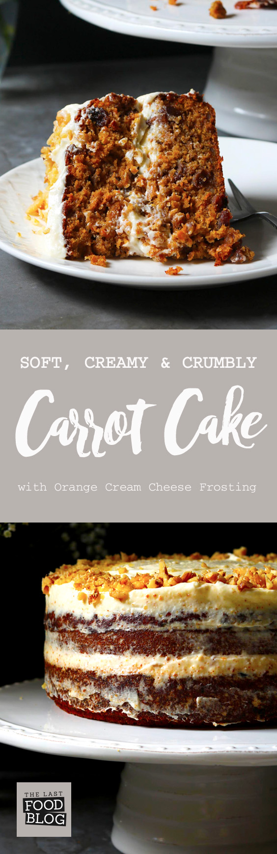 Carrot Cake with Orange Cream Cheese Frosting - thelastfoodblog.com