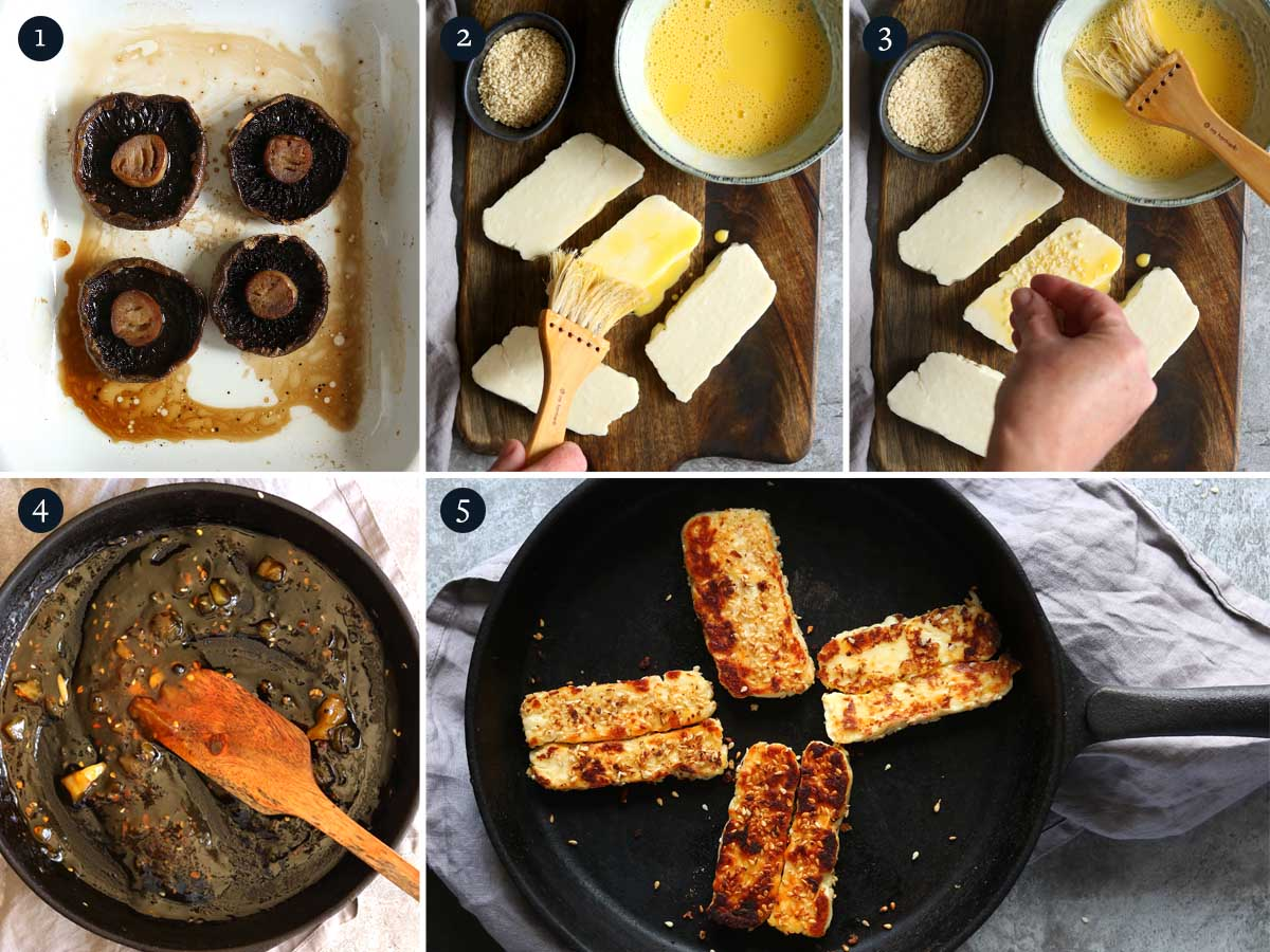step by step process to making Halloumi Burgers.