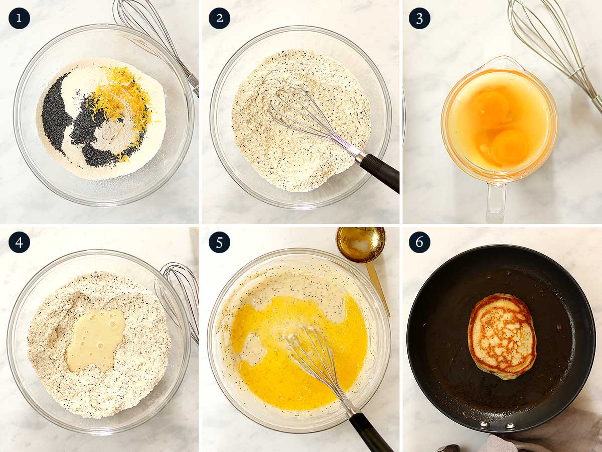 Step by step process for making Lemon Poppy Seed Pancakes