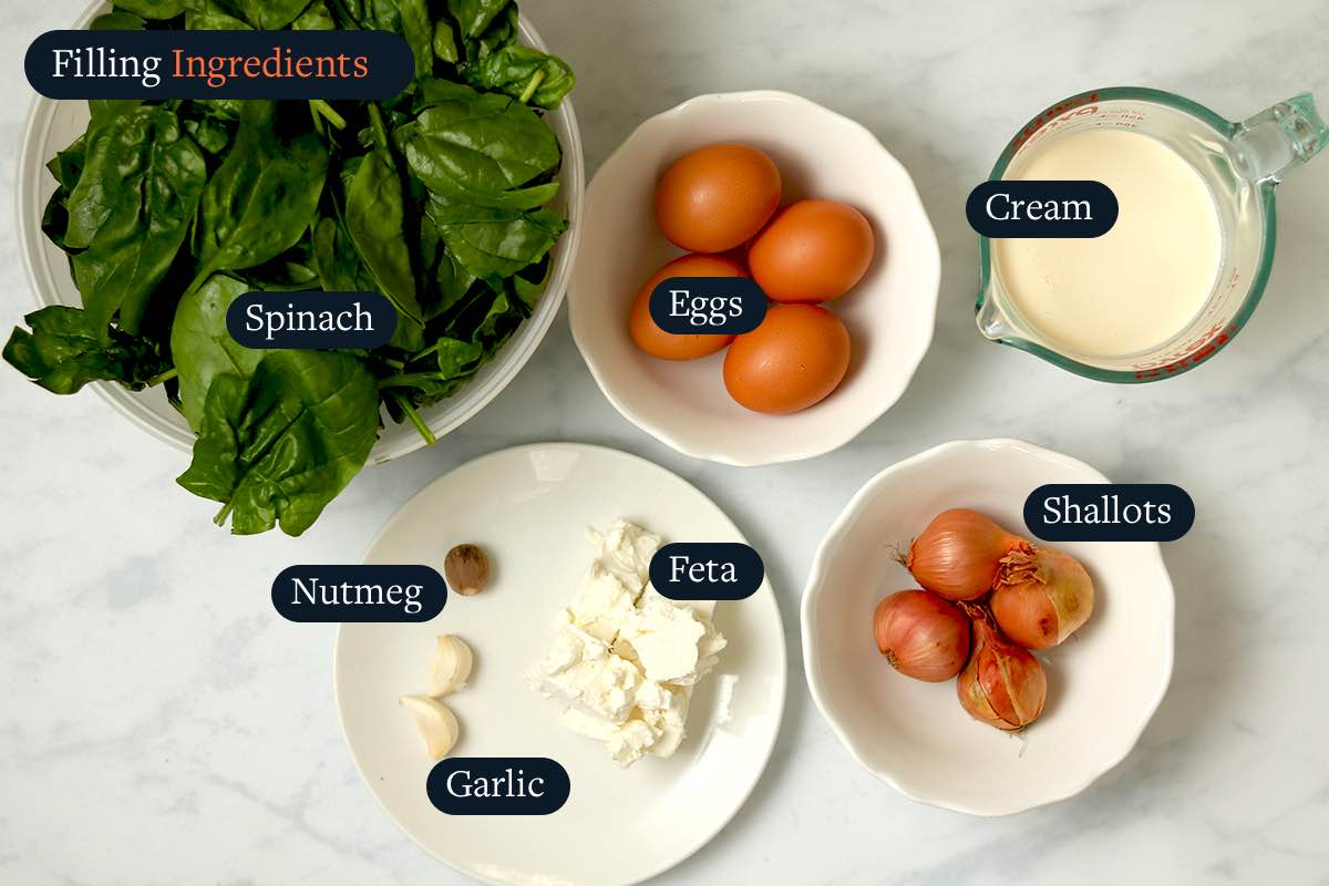Ingredients for making Spinach and Feta Filling